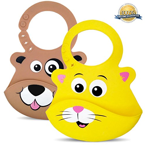 Bibimals Baby Bibs (Cat & Dog Pack) Button Latch Better for Long Hair - Funny Cool Cute 2 Pack of Bibs with Food Catcher Pocket Made From Waterproof Washable Silicone Plastic, Best for Use with Girl or Boy Infants and Babies - Your Baby Will Love These Silly Animal Face Bibs, Great Baby Shower Gift, Lifetime Guarantee - [Add These Bibs to Your Baby Registry Today]