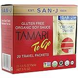 San-j Organic Tamari Gluten Free Soy Sauce Travel Packs 20x1/4fl.oz(Pack of 2)