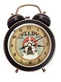 Uniquelover 3'' Ball Club Black Quiet Non-ticking Silent Mini Quartz Analog Retro Vintage Bedside Twin Bell Alarm Clock with Loud Alarm and Nightlight