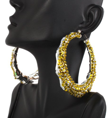 Yellow Shamballah 2.5 Inch Bamboo Hoop Earrings Iced Out Basketball Mob Wives Lady Gaga Poparazzi