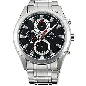 Orient Men's Steel Bracelet & Case Quartz Black Dial Analog Watch FUY07001B0