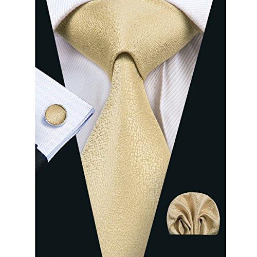 Hi-Tie Mens Gold Solid Silk Tie Hanky Cufflinks se…