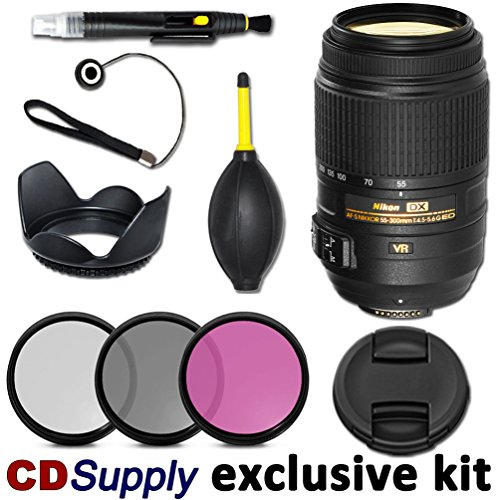 Nikon 55-300Mm F/4.5-5.6G Ed Vr Af-S Dx Nikkor Telephoto Zoom Lens - Import For Nikon Digital Slr Cameras, Includes; 9Pc Cd Supply Accessory Kit