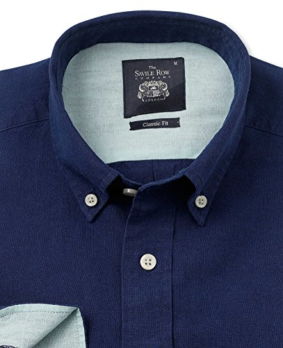 Savile Row Men's Navy Linen Cotton Blend Casual Shirt