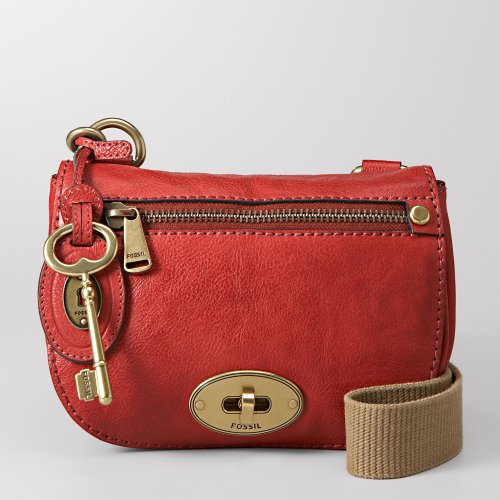 Fossil Emilia Small Flap Leather Bag (Red)