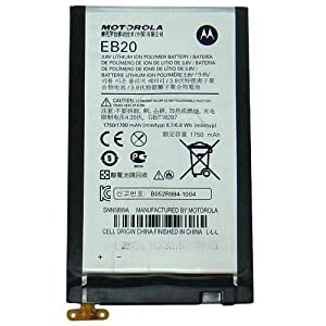 Motorola Droid Razr EB20 Battery with Flex Cable OEM SNN5899, Genuine Motorola XT910 XT912 Verizon Droid Razr Replacement Internal Battery with Flexible Ribbon Cable 3.8V Lithium Ion Polymer 1780 mAh (Installation Adhesive Sold Separately)