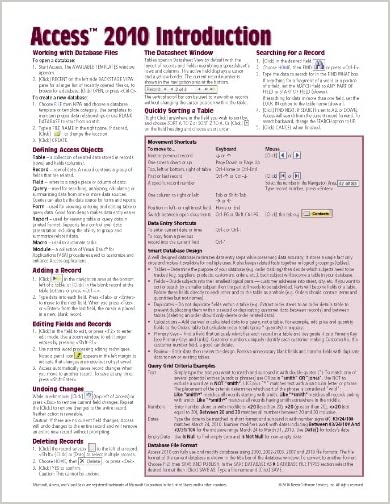Microsoft Access 2010 Introduction Quick Reference Guide