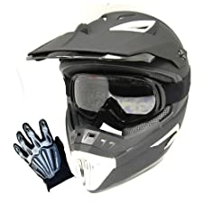 1Storm Motocross MX BMX Helmet Matt Black with Retractable Visor + Goggles + Skeleton Black Glove Bundle