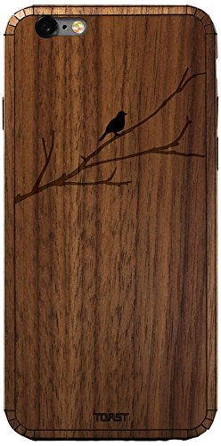 TOAST Real Wood Bird on Branch Cover for iPhone 6 Plus - Retail Packaging - Walnut