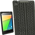 iGadgitz Black Silicone Skin Case Cover with Tire Tread Design for Asus Google Nexus 7 FHD Android Tablet 16GB 32GB 4G LTE Model 2nd Generation released August 2013 + Screen Protector (Not suitable for the 1st Gen launched in July 2012)