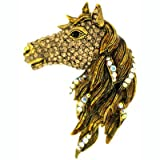Brooches Store Large Antique Gold and Topaz Crystal Horse Head Brooch Pendant