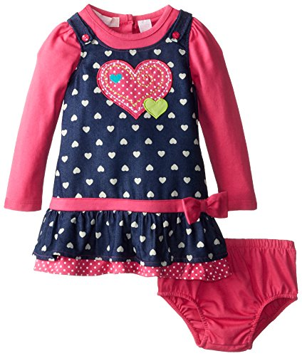 Kids Headquarters Baby-Girls Infant Long Sleeve Dress With Heart, Pink, 18 Months front-637716