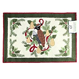 2\' X 3\' Decorative Partridge In A Pear Tree Christmas Throw Rug