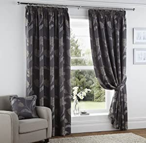 """BODMIN Silver Grey Slate Charcoal - Multi LINED PENCIL PLEAT EMBROIDERED FLORAL CURTAINS 90""""X 90"""" #TSRUHGNISSIS by PCJ SUPPLIES"""