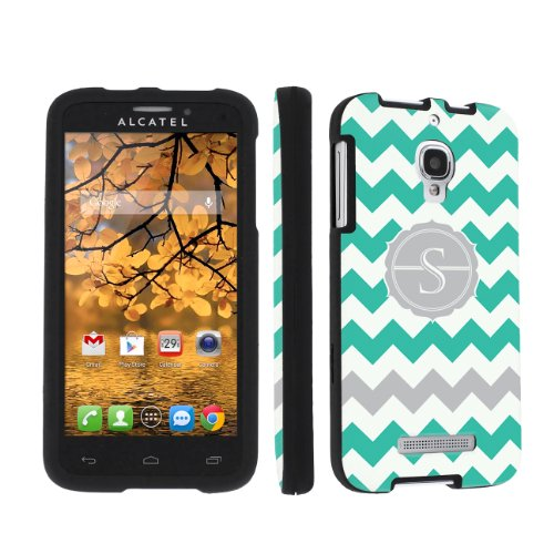 Skinguardz Designer Black Hard Case For Alcatel One Touch Fierce 7024W - Mint Chevron Monogram Initial S back-863221