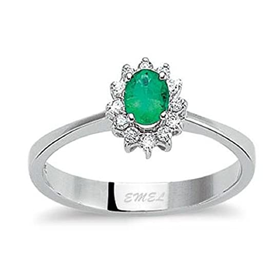 0.59 Carats 18k Solid White Gold Emerald and Diamond Engagement Wedding Bridal Promise Ring Band