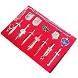 Xcoser Deluxe Mini Weapons Shield And Sword Silver Necklace Keychain Collection Set 12pcs