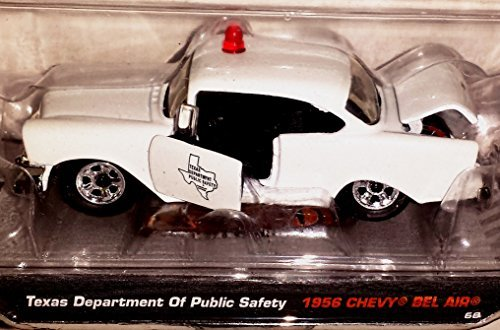 Jada Hero Patrol 1:64 Texas Department of Public Safety 1956 Chevy Bel Air White - 1