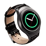 Gear S2 Band - Valkit Genuine Leather Smart Watch Bands, Soft Replacement Bracelet Wristband Strap, Crocodile Pattern leather Bands for Samsung Gear S2 (SM-R720/R730) - (Black) with Black Adapter