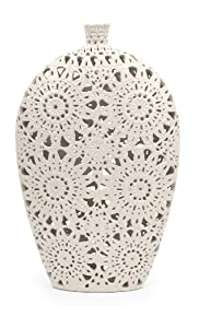 "19.5"" Large Country Chic Matte White Ceramic Lace Patterned and Textured Vase"
