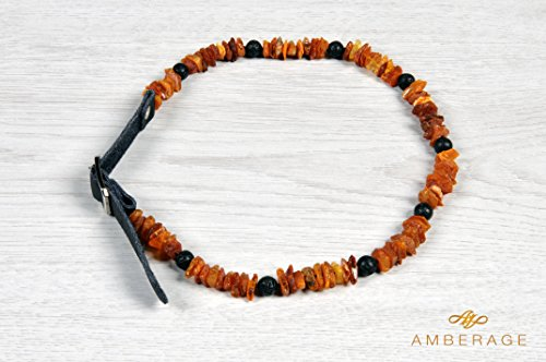 authentic-amber-flea-lice-tick-collar-with-adjustable-leather-strap-and-natural-lava-beads-for-dogs-