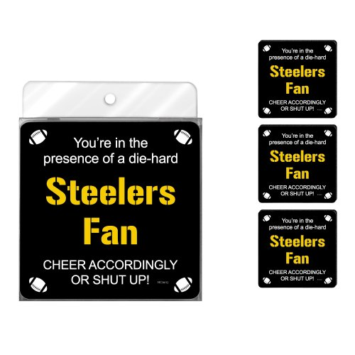 Tree-Free Greetings NC38132 Steelers Football Fan 4-Pack Artful Coaster Set from SteelerMania