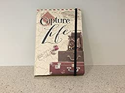 Capture Life Hardcover Journal Notebook with Ribbon Closure - 120 Page Gold Folied Notebook - Travel Diary