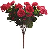 Fourwalls Artificial Synthetic Azalea Flower Bunch (11 Branches, Light Pink, 46 cm)