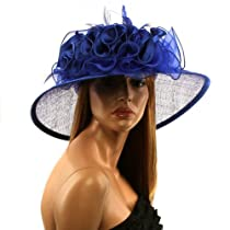 Satin Flat Top Feathers Ruffles Kentucky Derby Floppy Bucket Church Hat Blue