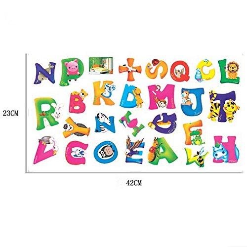 velishy stickers muraux pour chambre d enfant motif alphabet de a z avec animaux. Black Bedroom Furniture Sets. Home Design Ideas