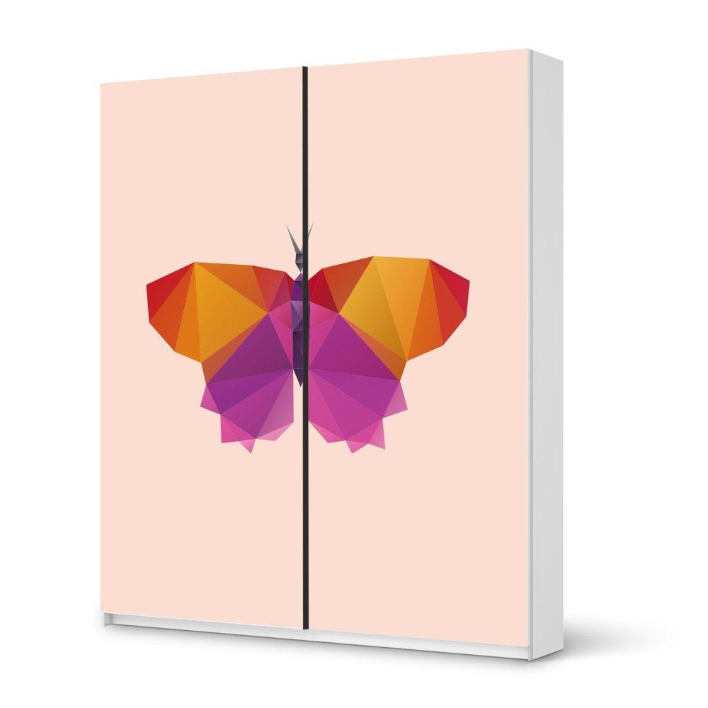 Folie IKEA Pax Schrank 236 cm Höhe – Schiebetür / Design Aufkleber Origami Butterfly / Dekorationselement bestellen