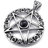KONOV Schmuck Edelstahl Retro Keltischer Pentagramm Amulett Herren-Anhänger mit 50-70cm Kette, Halskette, Schwarz Silber