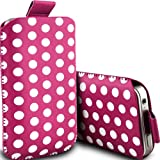 Blackberry Curve 8320 Pull Tab Polka Dot Case PU Leather Pocket Pouch Cover in HOT PINK (L)