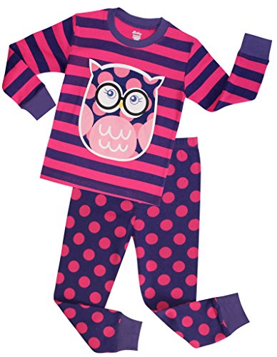 Girls Pajamas Children Christmas Sleepwear Toddler Owl Clothes Size 7 Years