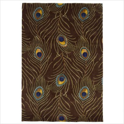"Catalina Peacock Feathers Mocha Novelty Rug Size: Runner 2'6"" x 8'"