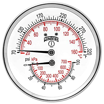 """Winters TTD Series Steel Dual Scale Tridicator Thermometer with 2"""" Stem, 0-100psi/kpa, 3"""" Dial Display, ±3-2-3% Accuracy, 1/2"""" NPT Back Mount, 70-320 Deg F/C"""