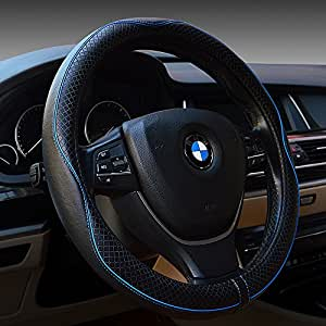 gomass automotive interior accessories 38cm emboss top leather steering wheel cover. Black Bedroom Furniture Sets. Home Design Ideas