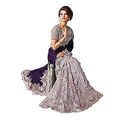 Shri Balaji Emporium Women's Velvet & Net Saree (_72, Purple_Grey)