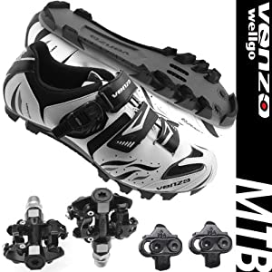 Venzo Mountain Bike Bicycle Cycling Shimano SPD Shoes + Sealed Pedals by Venzo