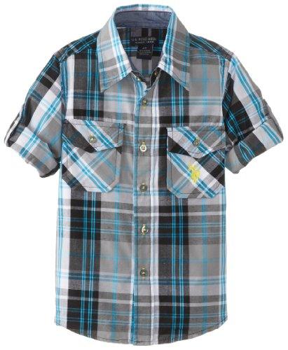 U.S. Polo Assn. Long Sleeve Plaid Shirt, Dark Grey, 3T