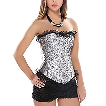 Muka Women Renaissance Corset Top Gray Waist Cincher Bustier Halloween Costume XXL