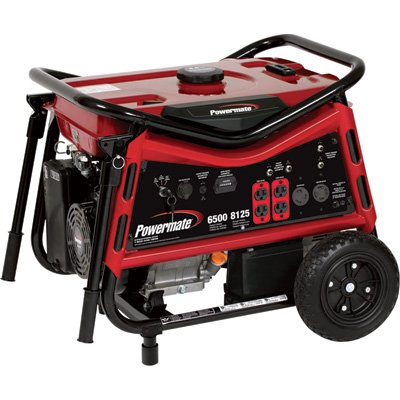 Powermate Portable Generator – 8125 Surge Watts, 6500 Rated Watts, Electric Start, CARB-Compliant, Model# PMC106507