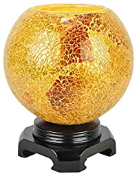 EcoScents Electric Aroma Lamp and Oil Burner with Dimmer Switch, Mosaic Glass Design, The Golden Globe