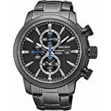 Gents/Mens Black Ionized Stainless Steel Quartz/Battery Chronograph Watch on Bracelet SNAF49P1