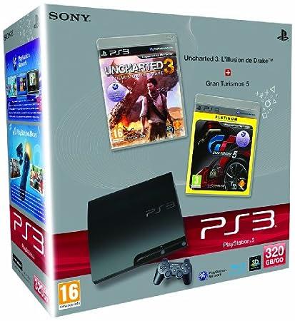 Console PS3 320 Go noire + Uncharted 3 : l'illusion de Drake + Gran Turismo 5 - platinum