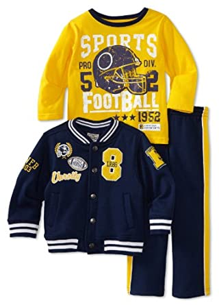 Little Rebels Boys 2-7 3 Piece Varsity Jacket Set, Navy, 3T