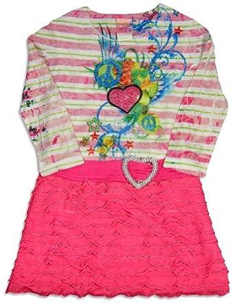 Lipstik Girls's - Little Girls's Long Sleeve Striped Dress, Pink, White 24291-2T