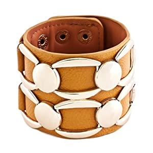 Pugster Stainless Steel Studded Ginger Leather Cuff Bracelet