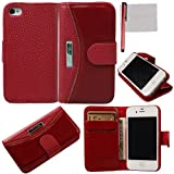 xhorizon® Flip wallet Luxury Premium Leather Magnetic Stand Case Cover For iPhone 4 4S w/ free stylus + cleaning cloth + screen film
