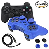 BlueLoong PS3 Controller Wireless Double Shock Black and Blue 2 Pack